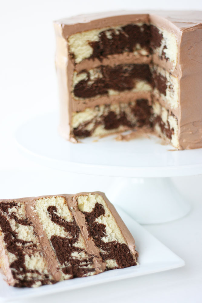 Marble Cake with Rich Chocolate Frosting - Cake Paper Party