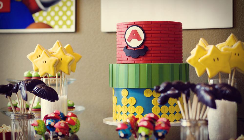 Mario Bros Party Cake Paper Party