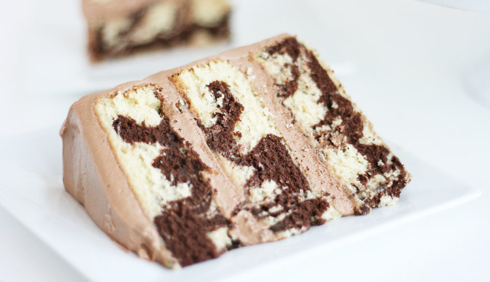Chocolate Vanilla Swirl Layer Cake